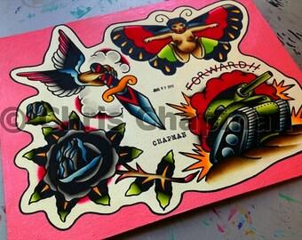 Tanks n Fairies n Roses Tattoo Flash
