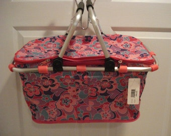 Insulated Pink with flowers Collapsible Market Tote Personalized Free Great for the Beach, Pool Parties