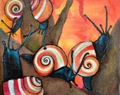 Dreamsicles Painted Snails artwork 6x6 inch Acrylic Painting