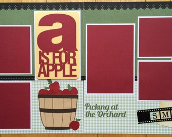 Apple Picking Scrapbook Pages, Apple Orchard Scrapbook Pages, Premade Apple Picking Scrapbook Pages, 12x12 Album