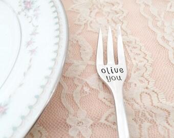 Olive you. hand stamped vintage seafood appetizer fork.