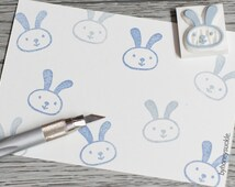rabbit rubber stamp, cute rabbit stamp, easter bunny stamp, rabbit face stamp, handmade rubber stamp, handcarved stamp, scrapbooking supply