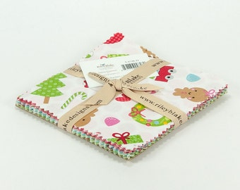 "Santa Express 5"" Squares Charm Pack by Doodlebug Designs for Riley Blake, 21 pieces"