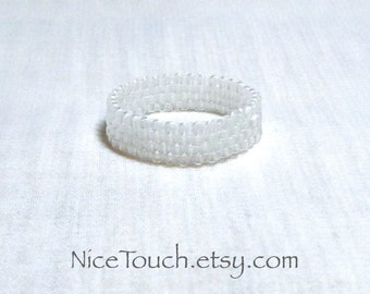 SUMMER SALE!!! Free Shipping or Save 20% ~ Icy White opaque woven peyote beaded ring ~ Made to Order