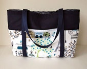 Handmade Large Cotton Tote, Lots of Pockets, Handmade Large Navy Cotton Tote, TOT22479