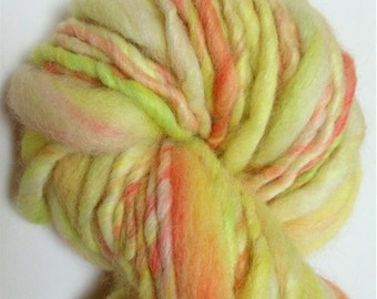 """Yarn Super Bulky Handspun Alpaca and Wool Thick and Thin Hand Dyed 54 Yards (2 skeins avail.)   """" Garden Party  """" Doll Hair Knitting Crochet"""