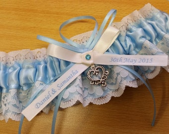 Wedding Garter , beautiful personalized, name garter,  blue satin and ivory Lace with heart