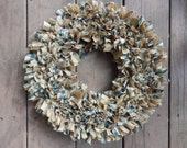 "Country Rag Wreath in Green Homespun and Ticking, 15"" Primitive Rustic Collection, Handmade in NJ"