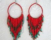 Beaded Tassel Large Dangle Drop Turquoise Red Bronze Bohemian Indian Summer Folk Ethnic Chunky Hoop Earrings Boho Hippie earrings