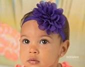 Purple baby headband, infant headband, newborn headband, purple baby headband, purple flower headband, photo prop, purple flower, purple bow
