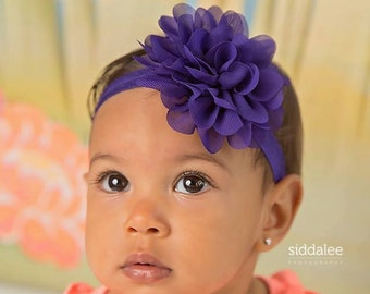 Purple baby headband, infant headband, newborn headband, purple baby headband, purple flower headband, photo prop, purple flower, purple bow