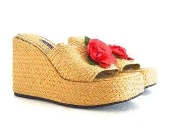 90's Floral Platform Wedge Sandal size - 7 1/2