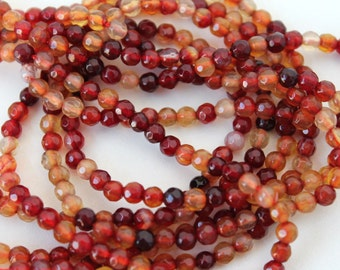 Beautiful Red Agate Faceted Round Gemstone Beads 4mm