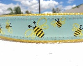 "Dog Collar Honey Bee 1"" width Side Release or Martingale collar style"