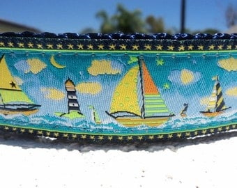 """Dog Collar Sailing Bright 1"""" wide Quick Release buckle adjustable - no martingale limited - incl. dog neck measurement"""