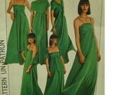 "70s Multi Wrap Convertible Dress Sewing Pattern, Wear 15 Ways, Straps, Sash, Shawl, Simplicity 8086 UNCUT Size Small 10-12 Bust 32.5 34"""