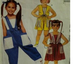 Girls Sundress, Jumpsuit Pattern, Romper, Contrast Fabrics, Sleeveless, Fitted Bodice, Patch Pockets, McCalls No. 4326 UNCUT Size 4 5 6