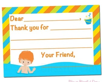 PRINTABLE Boy Pool Party Fill-in-the-Blank Thank You Cards #5001