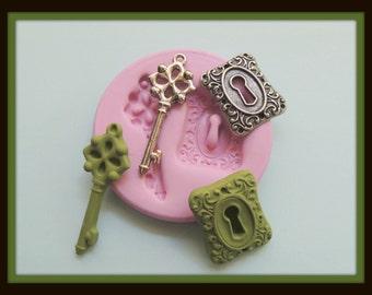 Silicone Key Mold Steampunk Victorian Mold Key Hole Lock DIY Polymer Clay Resin Fondant Mold Soap Wax Mold