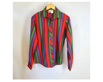 Bright Striped Shirt, Colorful Button Up Blouse Vintage 1980s 42 Inch Chest Fits Medium or Large