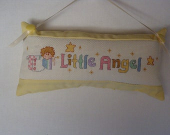 Little Angel pillow in counted cross stitch, infant door knob pillow, baby door knob pillow, nursery decor, yellow baby pillow, shelf sitter