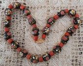 14K Gold - Natural Coral and Antique Wedding Cake Beads Necklace  - Art Deco