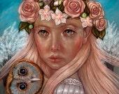Blodeuwedd May Queen owl flower goddess Pagan 8x10 inch fine art print