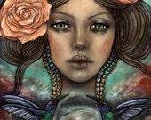 Astarte goddess stars hummingbirds pagan myth 8x10 inch fine art print