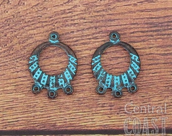 Boho Chandelier Hoop Earring Charm Pendant Connector - Copper Rustic Verdigris Green Patina - 22mm x 16mm - 2 pieces - Central Coast Charms