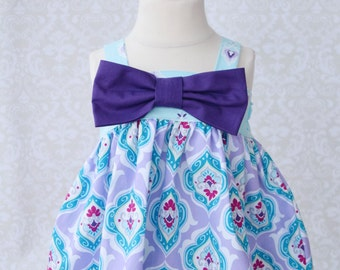 Rachel Swing Top - Blue Floral with Purple Bow Detail   2T
