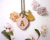 Necklace and Earring Bridesmaid Gift Set, Customized with her Hand Stamped Letter, lavender, peach and gold, Set of 5 vintage bridesmaids