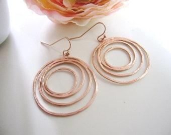 Rose Gold Hoop Earrings, Modern Circle Earrings, Eclipse, Moon Circle earrings, Matte Finish, Simple Everyday Earrings
