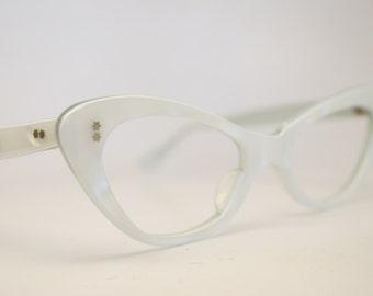 NOS small white cat eye glasses vintage cateye frames eyeglasses