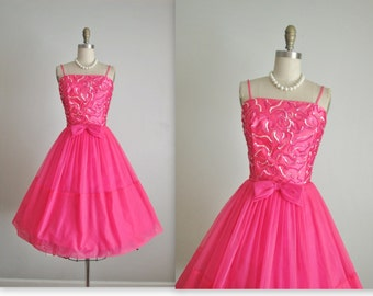 50's Chiffon Dress //  Vintage 1950's Hot Pink Sequin Satin Chiffon Cocktail Party Prom Dress S