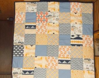 "LITTLE FOX VILLAGE Sale unisex baby quilt April Rhodes Arizona designer fabrics  appx 39"" Native American navy, blue, coral/Baby Shower Gift"