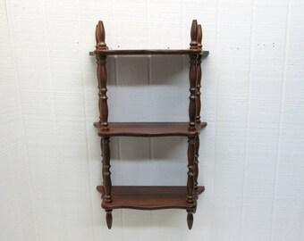 Vintage Wooden Shelf Ornate 3 Tier Plate Grooves Cup And Saucer Shelf