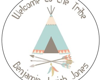 baby tribal stickers, tribal baby announcement labels, feather teepee baby labels, welcome to the tribe baby stickers, 3 sizes available