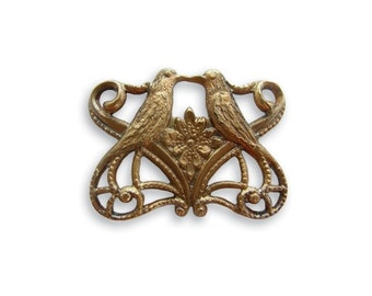 NEW Vintaj Antiqued Brass Love Birds Filigree Connector Brass Ox Vintage Style 19 x 14mm Qty 1