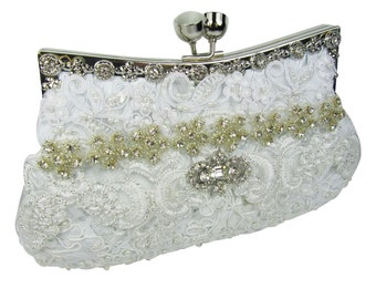 white bridal clutch, bridesmaid clutch purse, beaded evening bag, rhinestone clutch, wedding clutch bag, pearl clutch, bridal purse