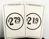 2 Vintage Price Tag Display Signs - McLellans Department Store - Large Double Sided Advertisement