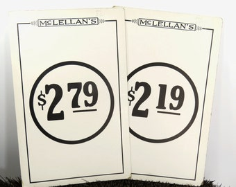 2 Vintage Price Tag Display Signs - McLellans Department Store - Large Double Sided Advertising Price Signs