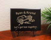 """Decorative Carved Wood Sign Personalized with Names, a Jeep, and Quote """"Let's get lost together."""" 12""""x9"""" Free Shipping"""