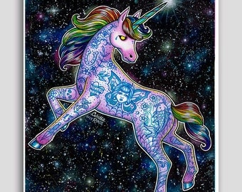 Colorful Pop Art Neon Tattooed Unicorn Portrait Drawing Poster 18x24 inch Signed Art Print Equine Magical Fantasy Wall Art Home Decor Animal