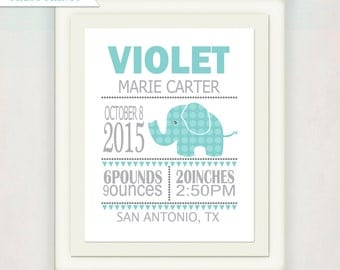 Elephant Birth Announcement Print // Baby Nursery Art // Personalized Name Art // Kid's Wall Art // Gift for Baby // Blue & Gray
