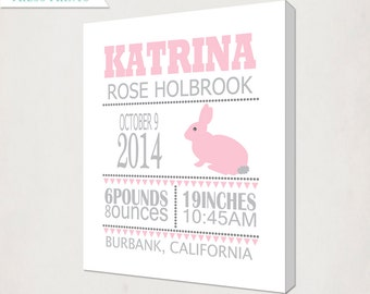 Girl's Pink Rabbit Birth Announcement Art Canvas // Personalized Canvas Print // Kids Nursery Wall / Birth Information Canvas in Pink & Grey