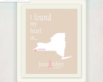 Personalized Wedding or Anniversary Art Print // City & State Custom Print // I Found My Heart In... // Anniversary Gift Print