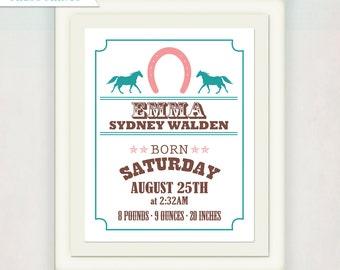 Birth Announcement Poster // Cowboy or Cowgirl Western Print for boy or girl // Horse / Farm / Kid's Nursery Wall Art
