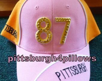 Ladies - Pittsburgh Rhinestones  - # 87 - Baseball Cap -  Pink,Black & White - Gold Backing -