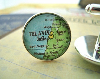 "Custom Map Cuff Links, Tel Aviv Israel 3/4"" 20mm Mens Jewelry Gift Ideas Groomsmen Cuff Links Mens World Travel"