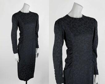 Vintage 1980s Dress / 80s Black Silk Floral Ruched Shift Dress M L
